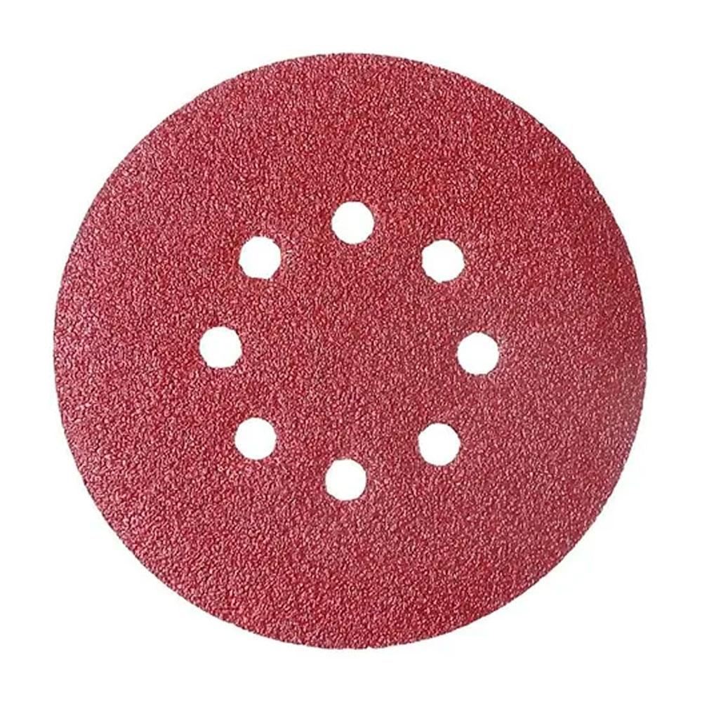 Disco Velcro Vermelho 125Mm Grão  40 (Kit 10 Unidades) - Starfer
