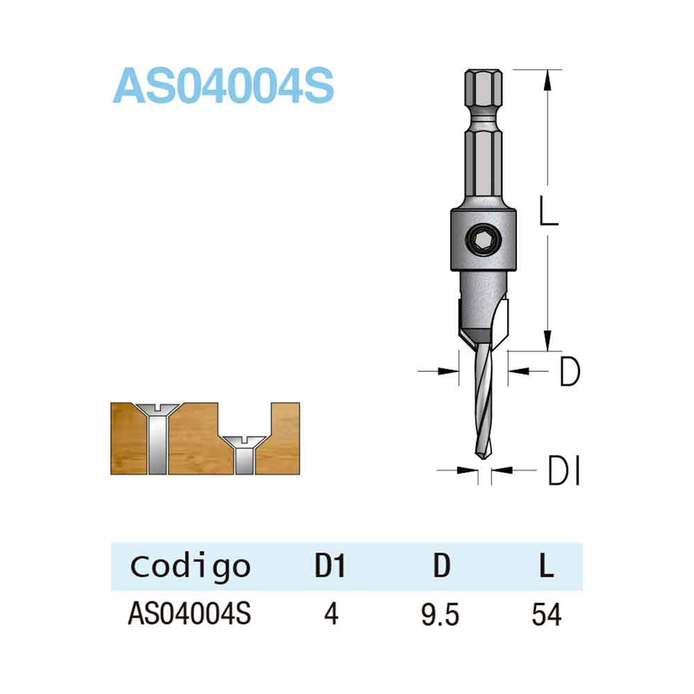 Escareador 9,5mm com Broca 4mm - HEX/54 (AS04004S) - WPW