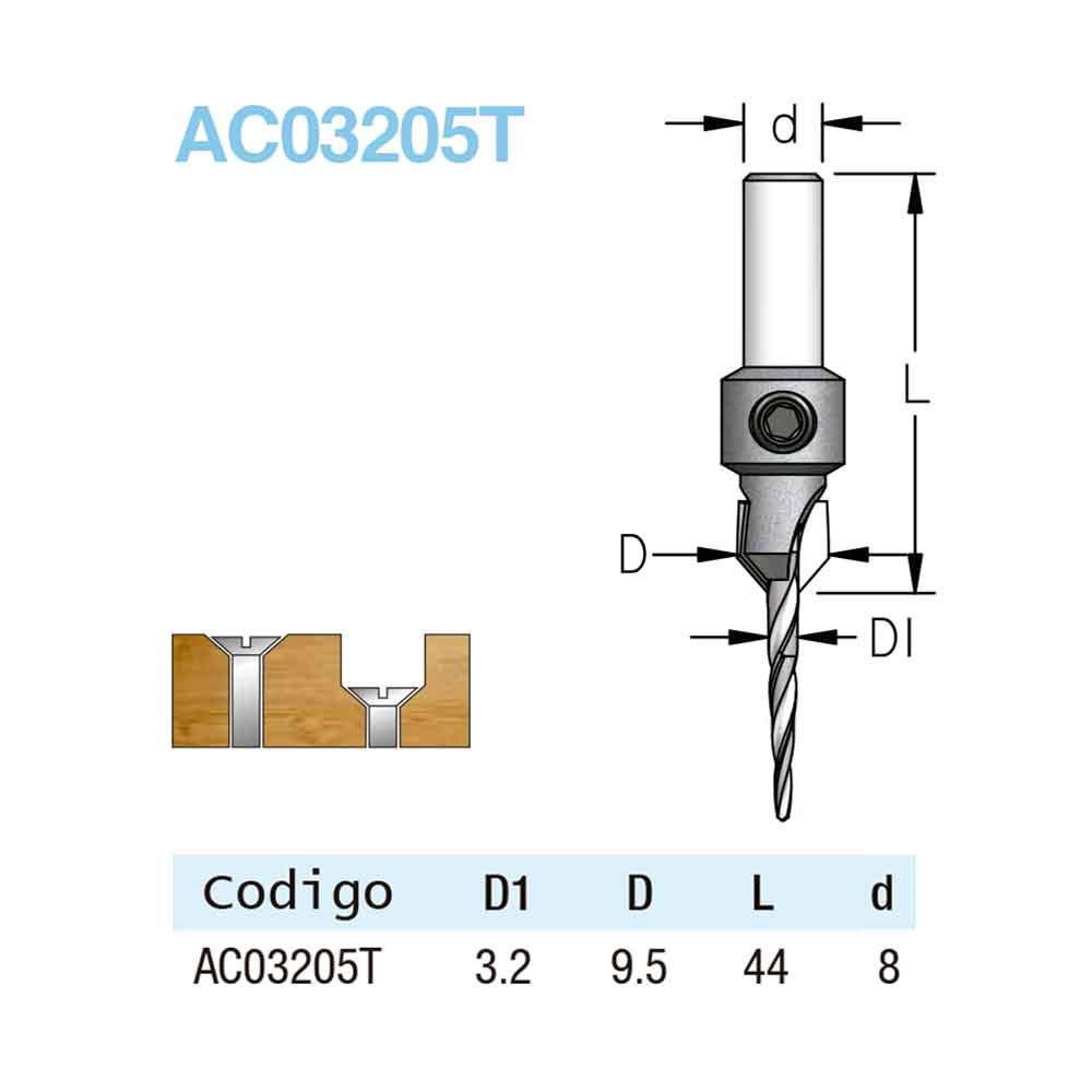 Escareador com Broca Cônica 9,5mm e Broca 3,2mm - H8/44 (AC03205T) - WPW