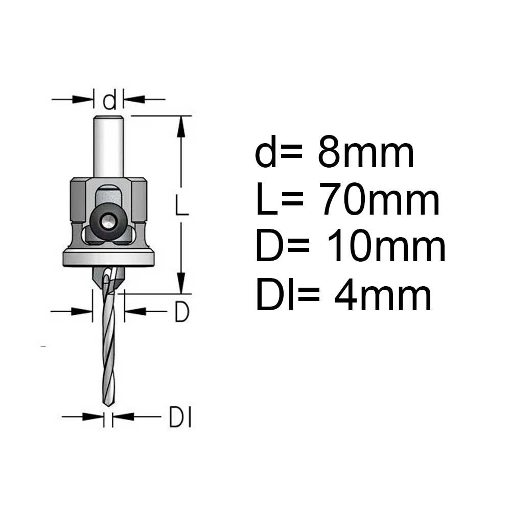 Escareador Countersink com Stopper Nylon 10mm c/ Broca 4mm - H8/50 (ATP4005D) - WPW