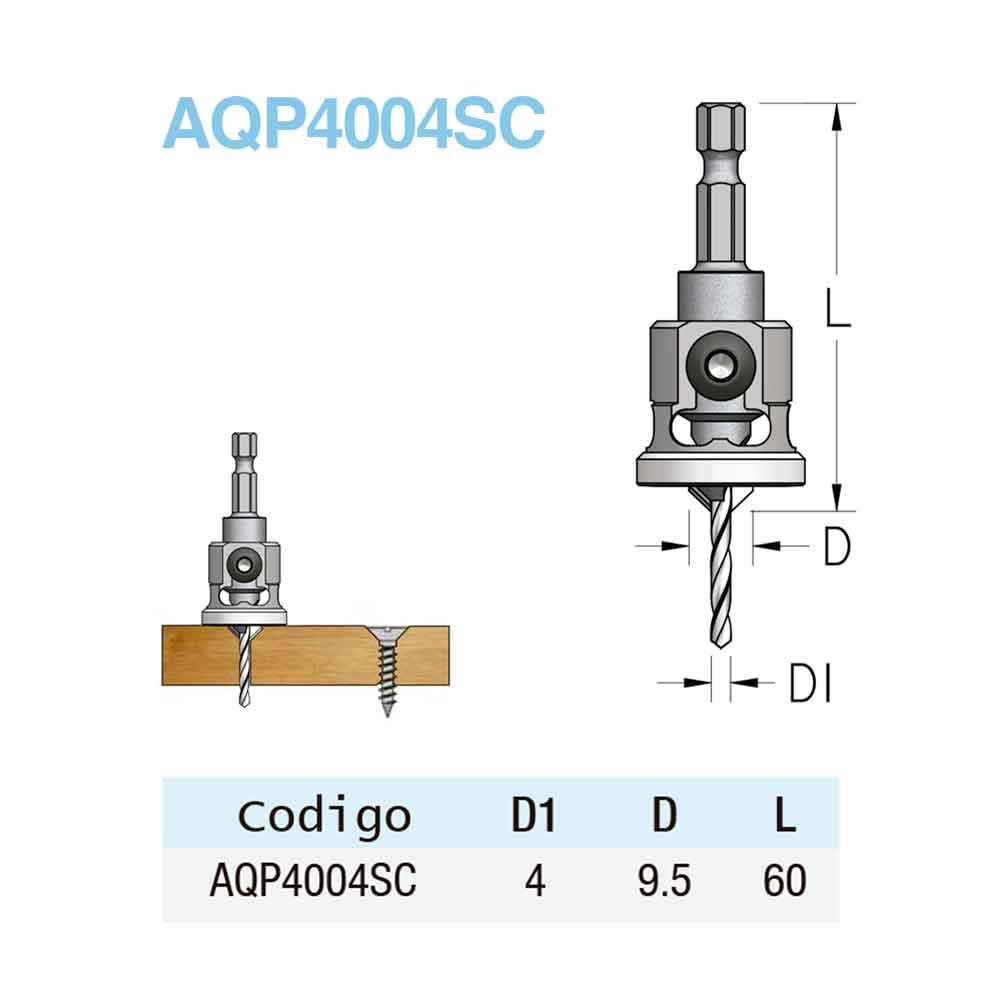 Escareador Countersink Stopper (NY) 9,5mm e Broca 4mm - HEX/60 (AQP4004SC) - WPW