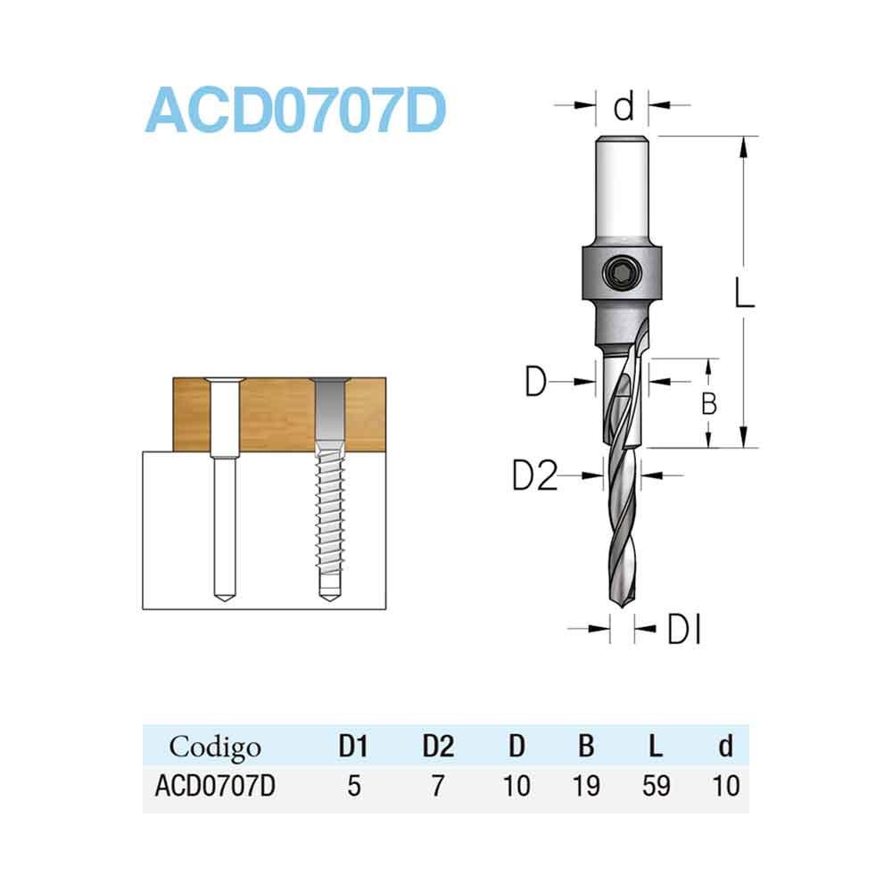 Escareador Longo 10mm x 19mm com Broca 5mm - H10/59 (ACD0707D) - WPW