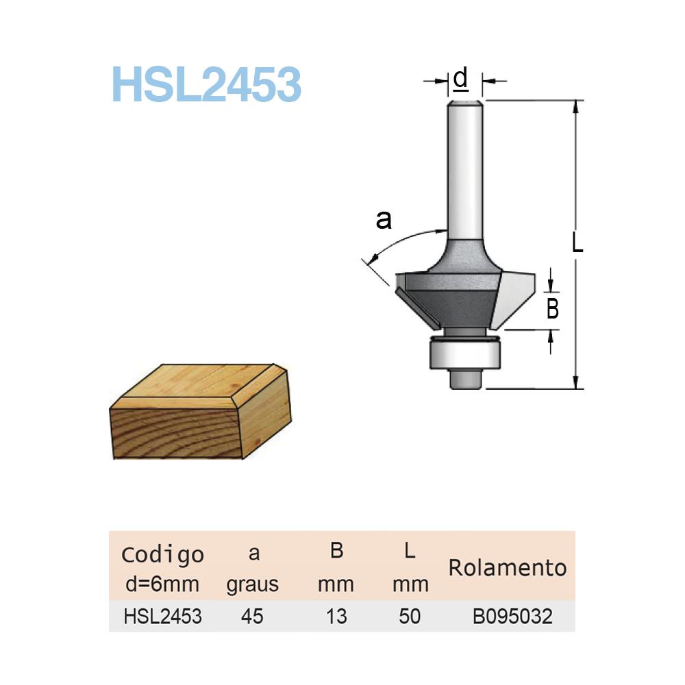 Fresa Canto Chanfrado com Rolamento R45- X12,5MM - H6/50 HSL2453 - WPW
