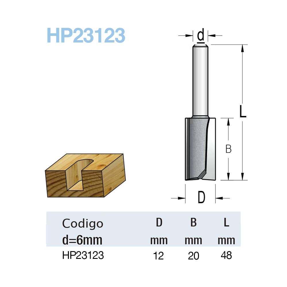 "Fresa Reta ""Woodpecker"" 12mm X 20mm -Haste 6 [HP23123] - WPW"