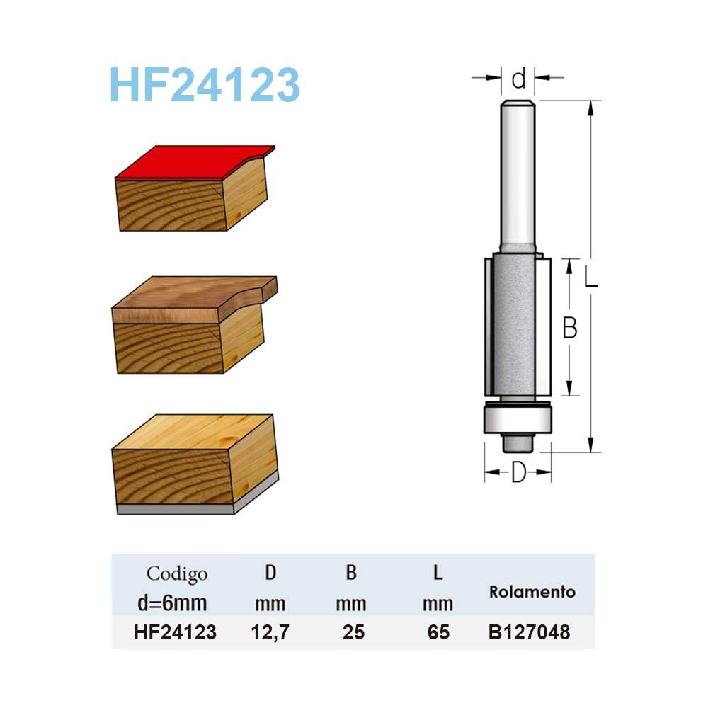 """Fresa Reta com Guia de Rolamento """"Woodpecker"""" 12,7mm X 25mm -Haste 6 HF24123 - WPW"""