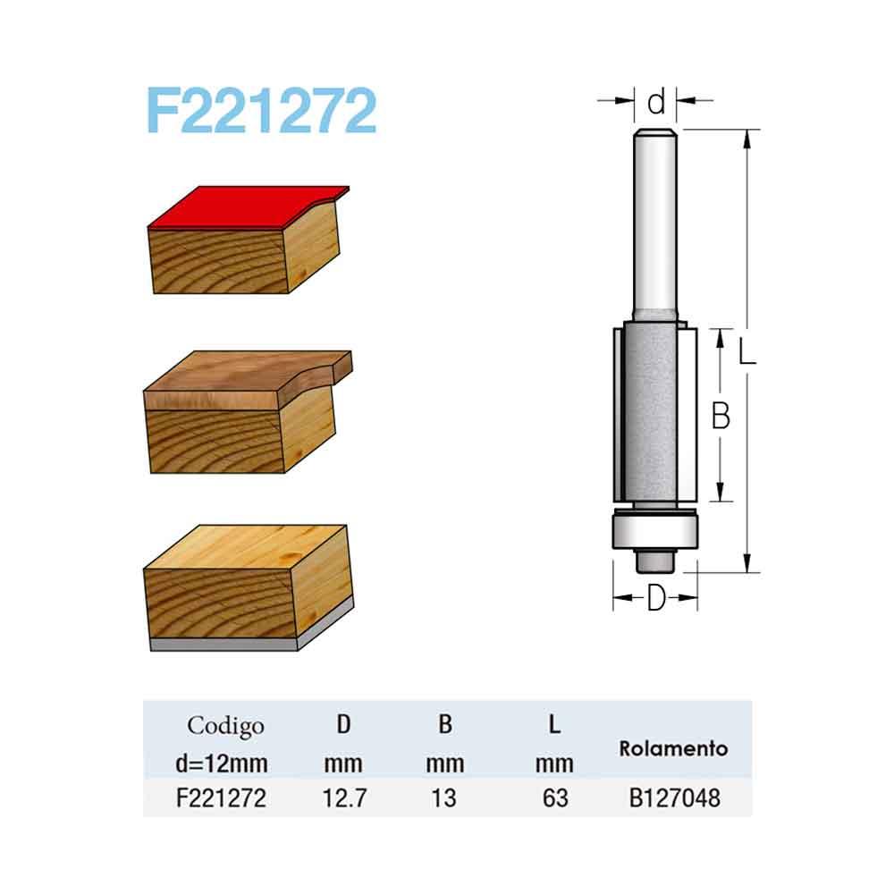 Fresa Reta com Rolamento - 12,7mm x 13mm - H12/63 - WPW