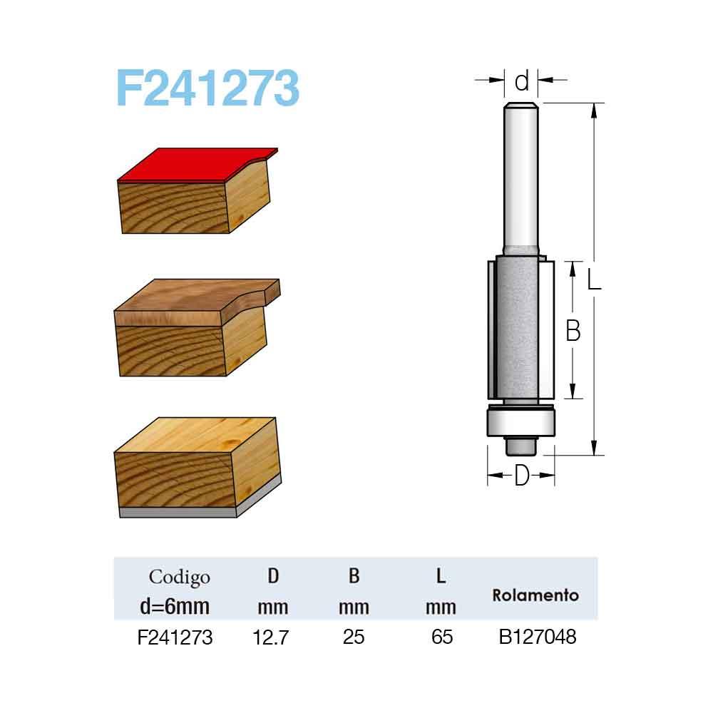 "Fresa Reta com Rolamento ""Profissional 12,7mm X 25mm -Haste  6 [F241273] - WPW"