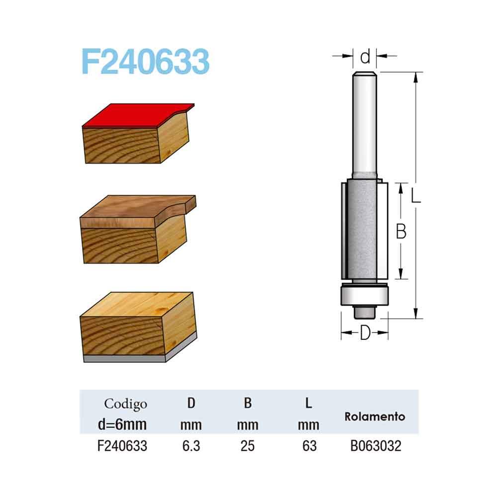 "Fresa Reta com Rolamento ""Profissional 6,3mm X 25mm -Haste 6 [F240633] - WPW"