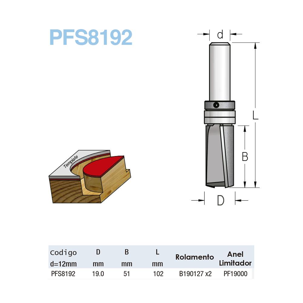 """Fresa Reta Com Rolamento """"Profissional e Corte Descendente 19mm X 51mm -Haste 12 [PFS8192] - WPW"""