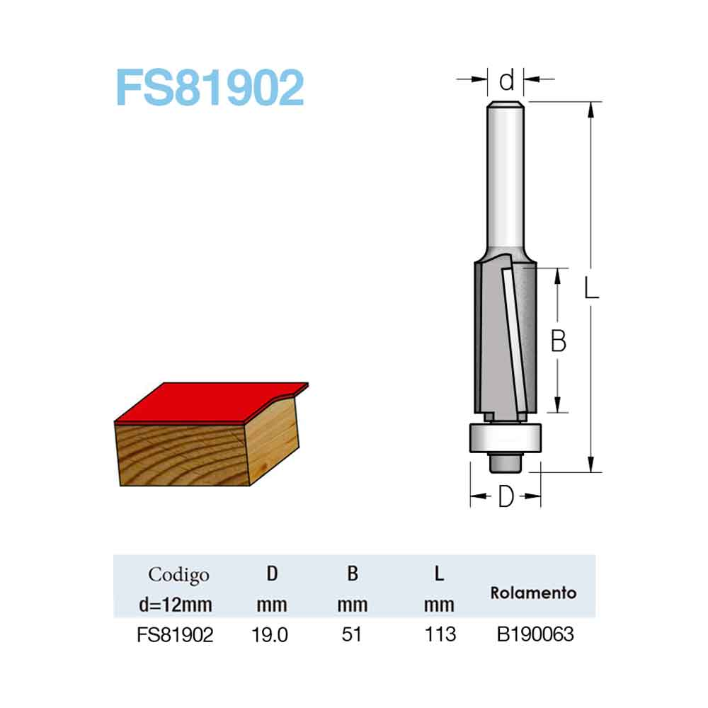 "Fresa Reta Com Rolamento ""Profissional e Corte Descendente 19mm X 16mm -Haste 12 [FS81902] - WPW"
