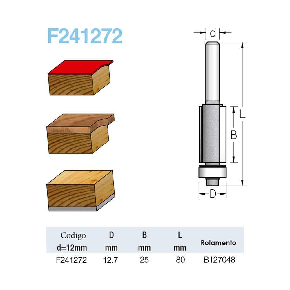 "Fresa Reta Com Rolamento ""Profissional 12,7mm X 25mm -Haste 12 [F241272] - WPW"