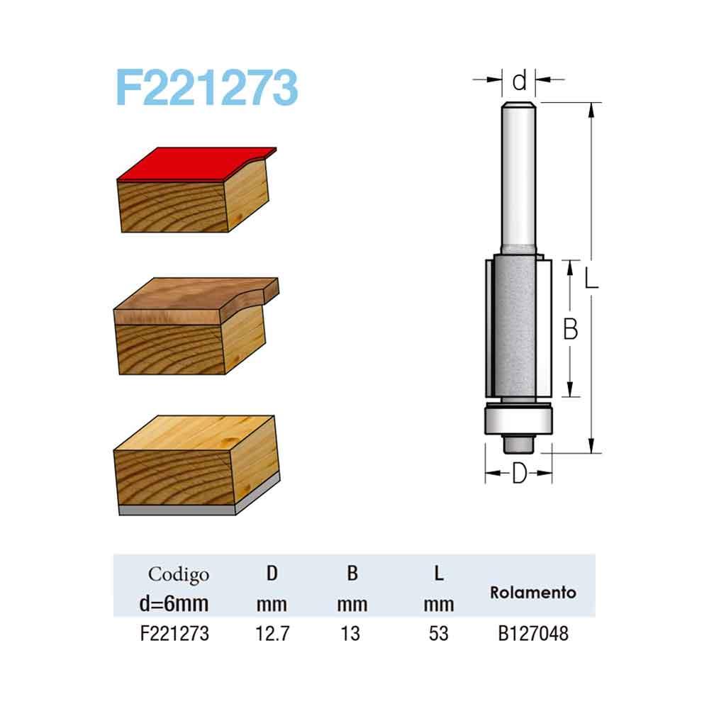 "Fresa Reta com Rolamento ""Profissional 1/2"" 12,7mm X 13mm -Haste 6 [F221273] - WPW"