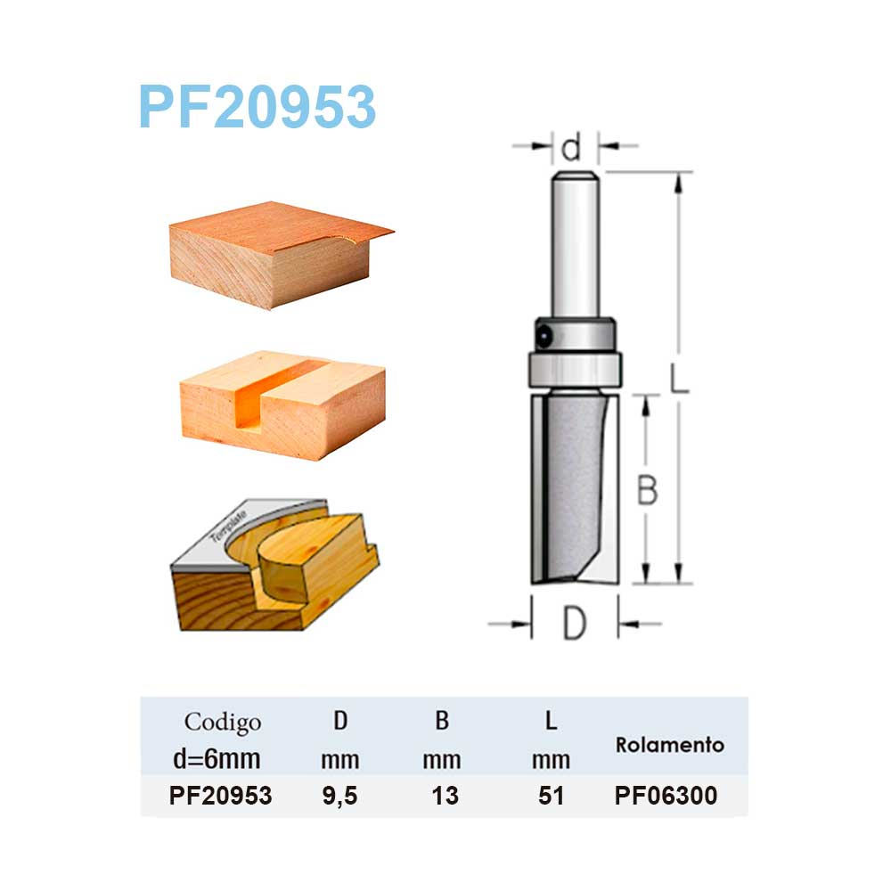 "Fresa Reta Com Rolamento ""Profissional 9,5mm X 13mm -Haste 6 [PF20953] - WPW"