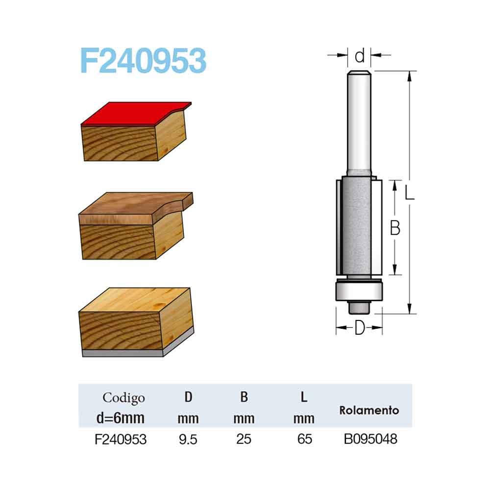 "Fresa Reta com Rolamento ""Profissional 9,5mm X 25mm -Haste 6 [F240953] - WPW"