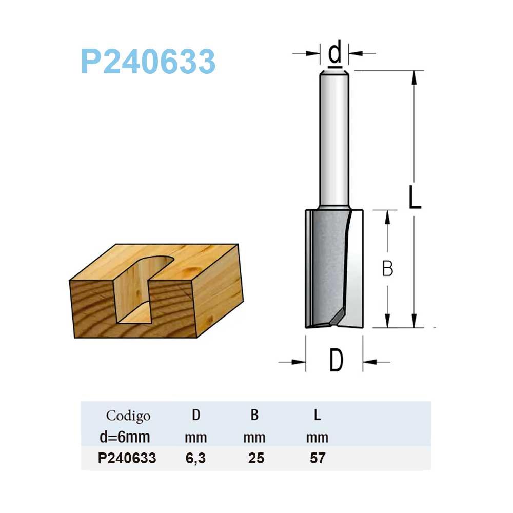 Fresa Reta 6,3mm X 25mm -Haste 6 P240633 - Wpw