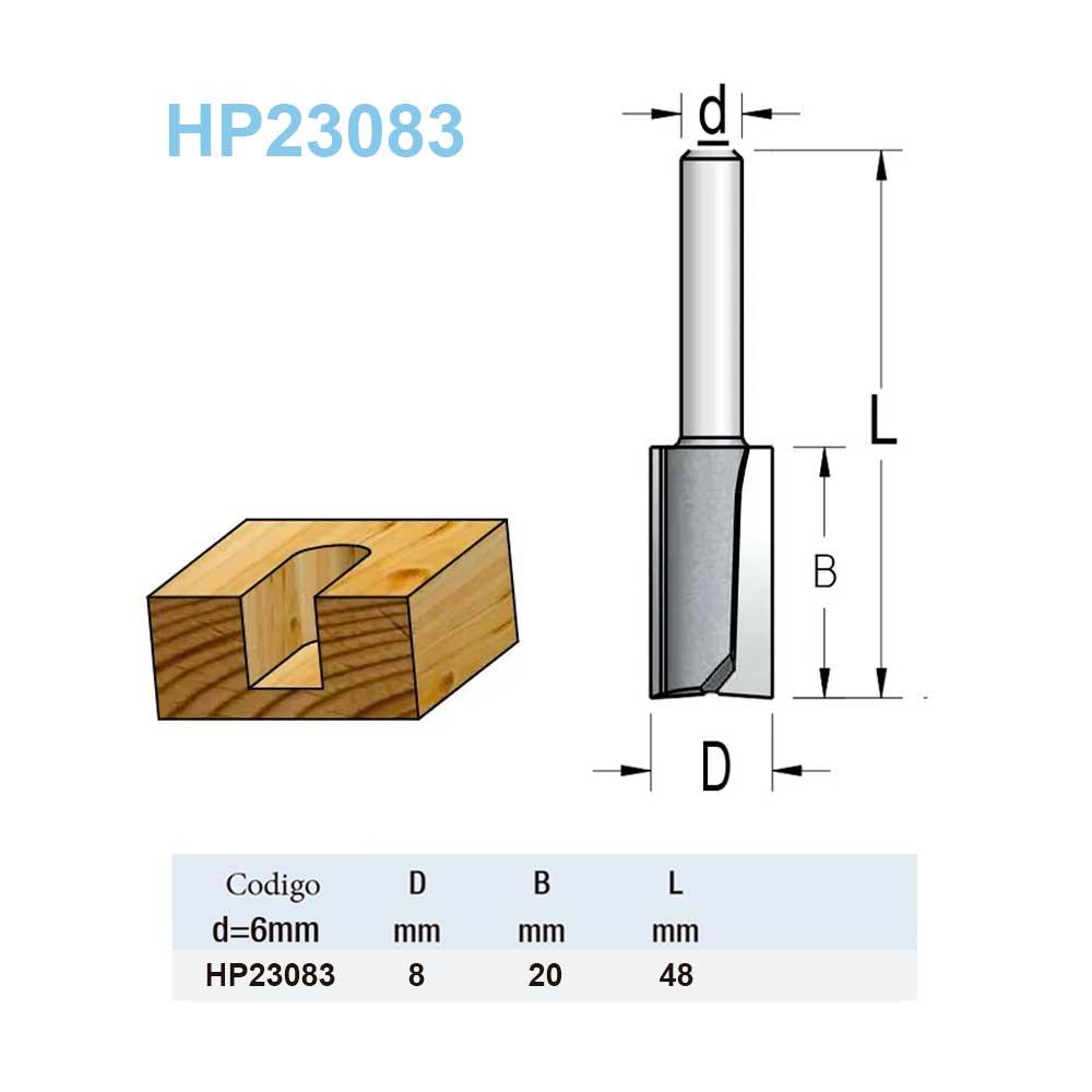 "Fresa Reta ""Woodpecker"" 8mm X 20mm -Haste 6 [HP23083] - WPW"