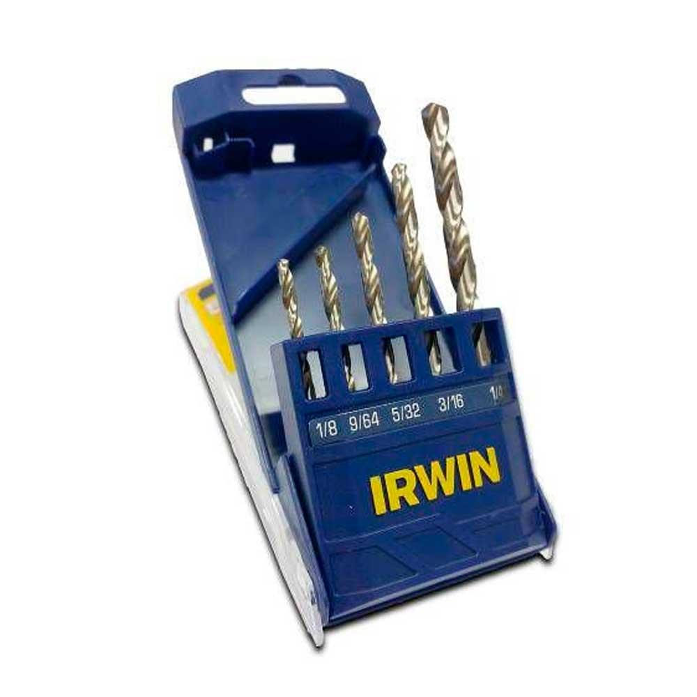 """Jogo de Brocas Irwin Aço Rápido 1/8 a 1/4"""" para Metal 5 Peças - IRWIN"""