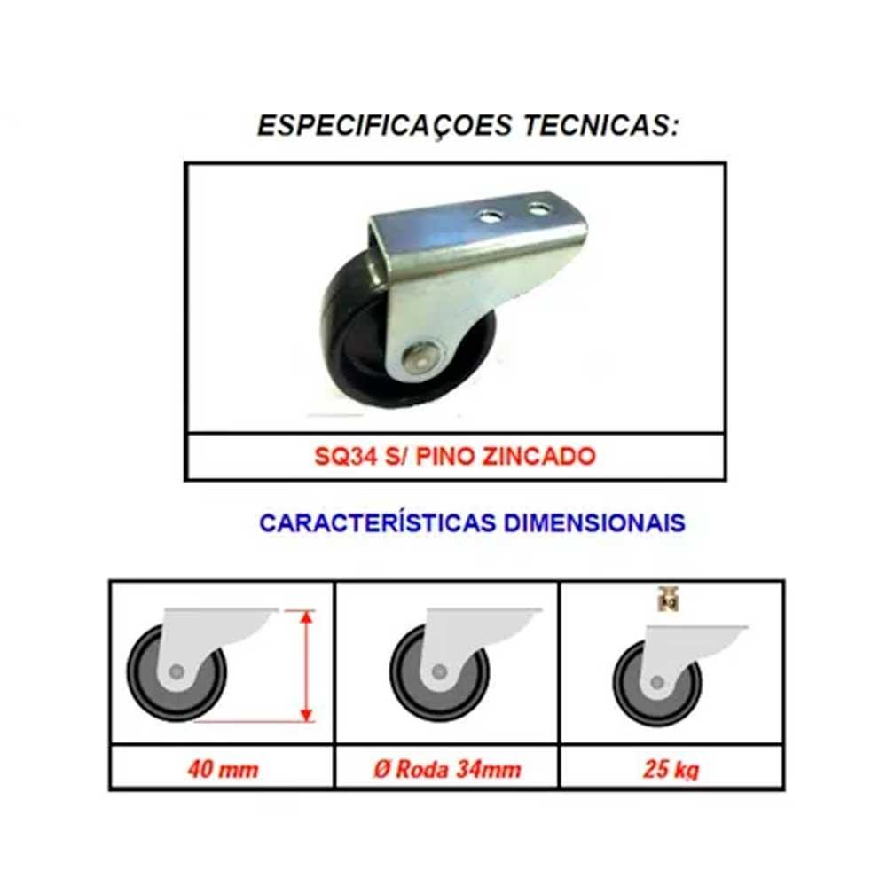 Kit com 4 Rodizio Rb 30 Fsp ( Rolete Preto) - Bigfer