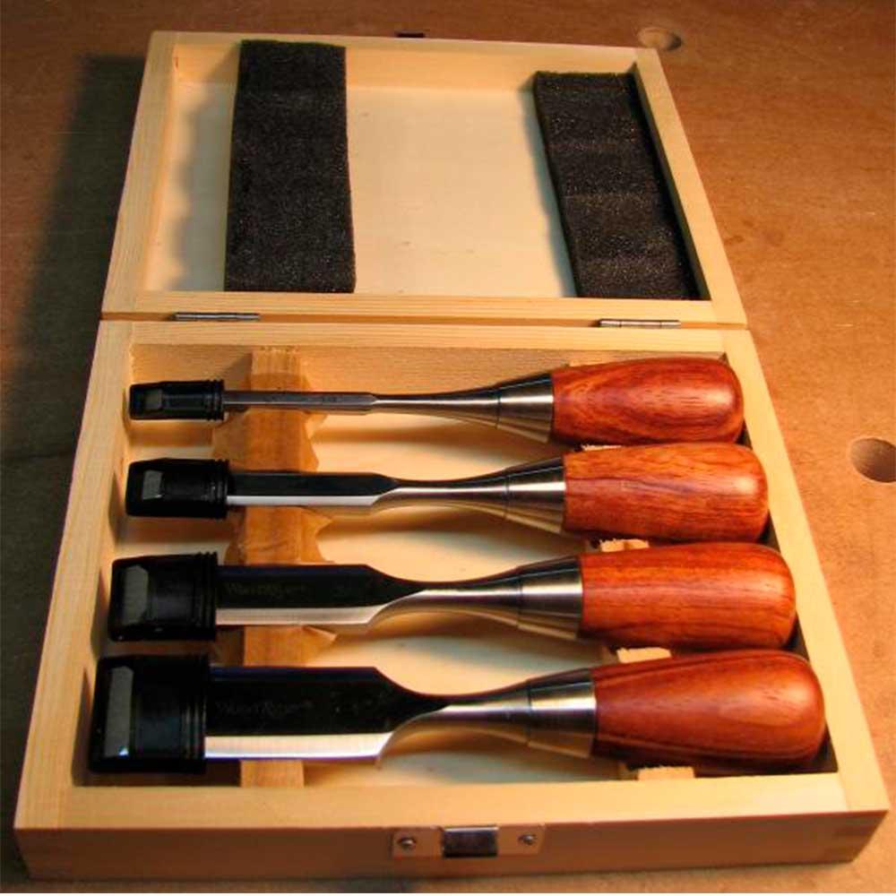 Kit Formão (4 Peças) c/ Estojo de Madeira - WoodRiver