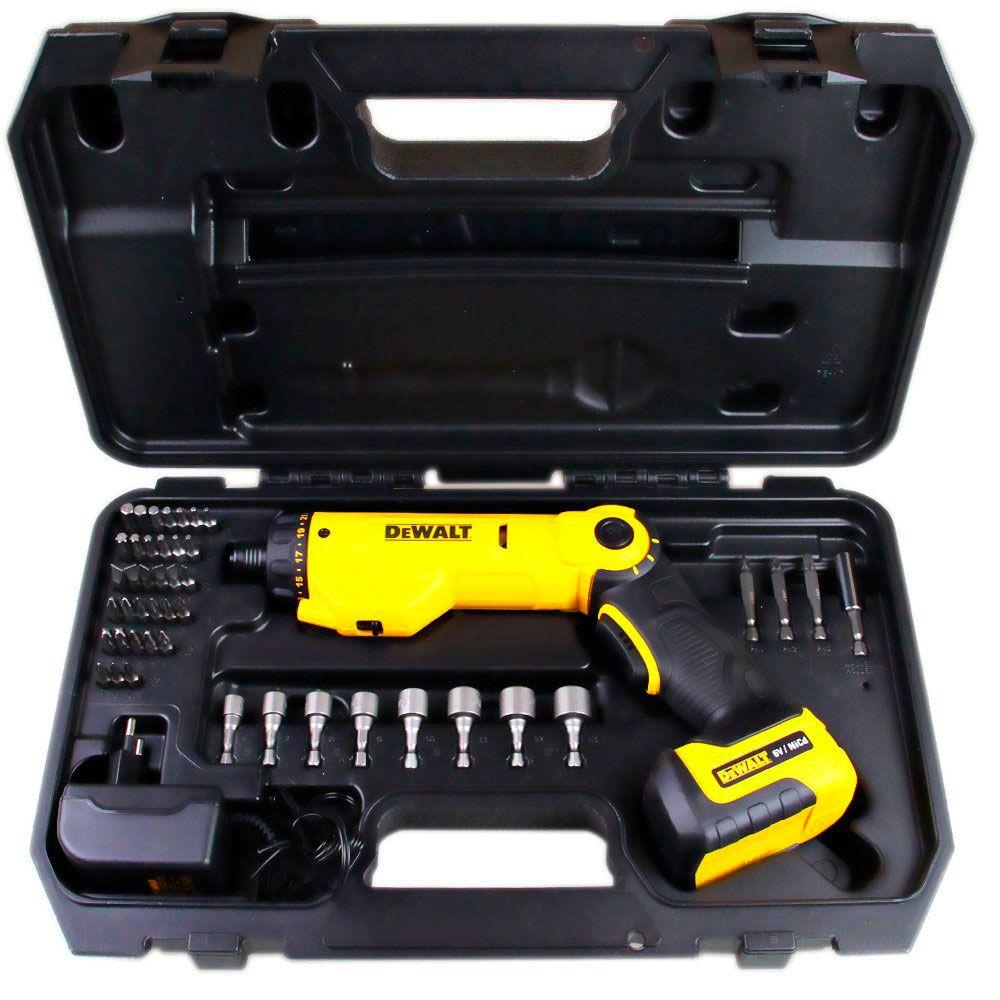Kit Parafusadeira à Bateria 6v Bivolt + Maleta com 45 peças - DCF060 - Dewalt