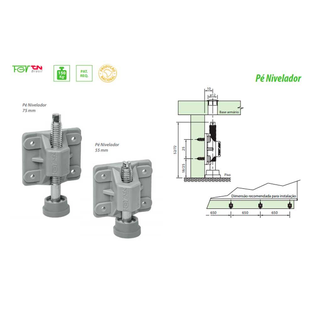 Kit Pé Nivelador 55mm (4 peças) - FGVTN