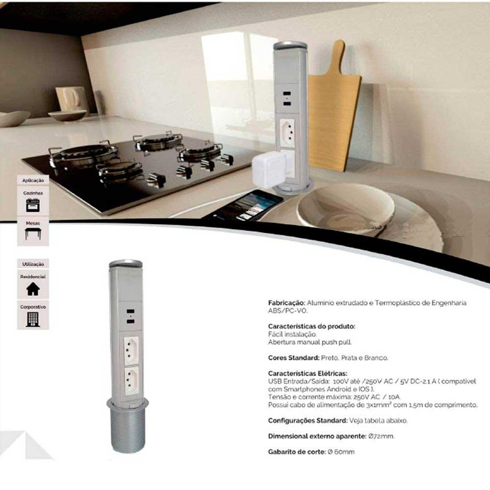 Mini Totem De Mesa Manual 2Ele Nbr 10A - Preto - Dutotec