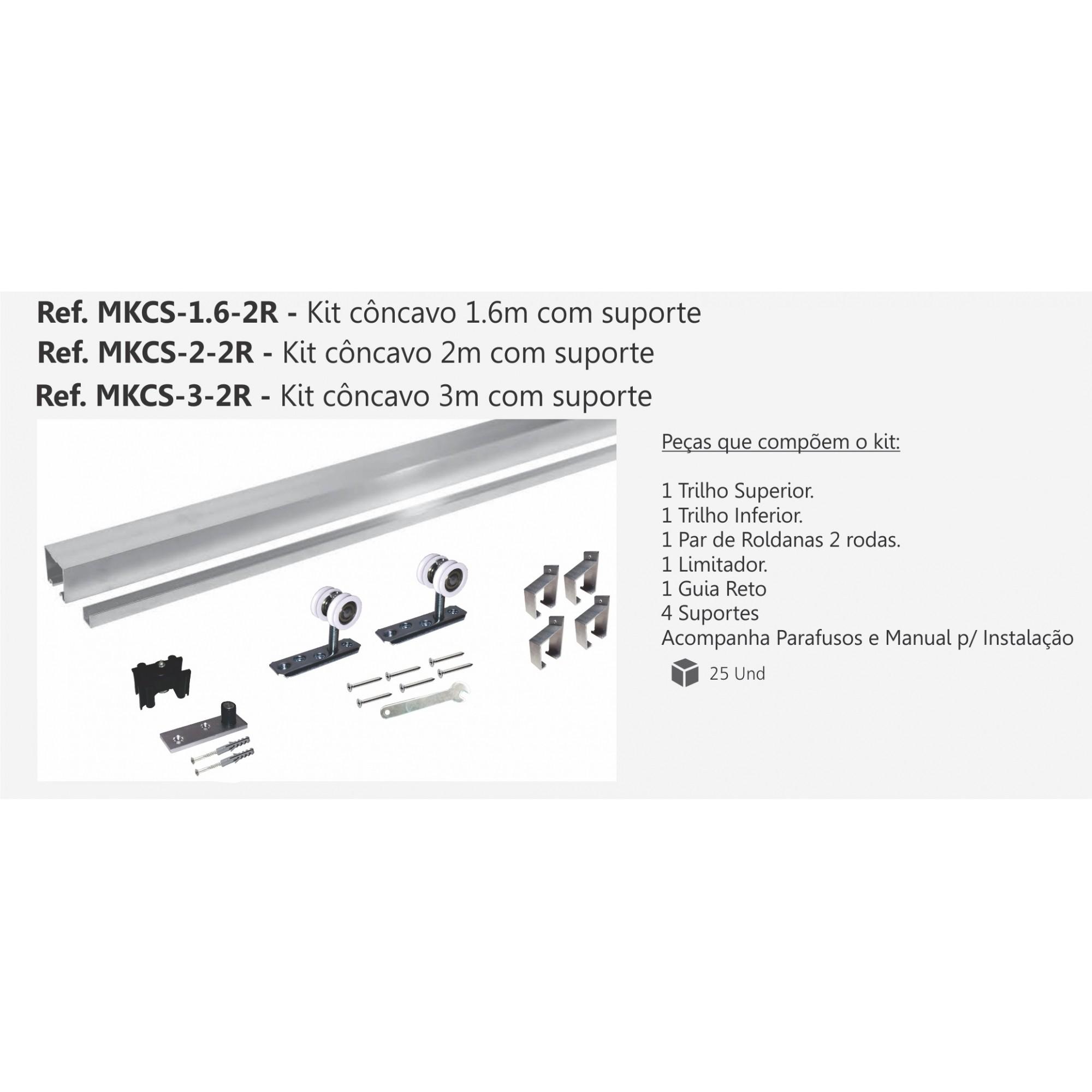 MKCS 2-2R - KIT CONCAVO 2 METROS COM SUPORTE ROLDANA 2R 40KG - PERFIL