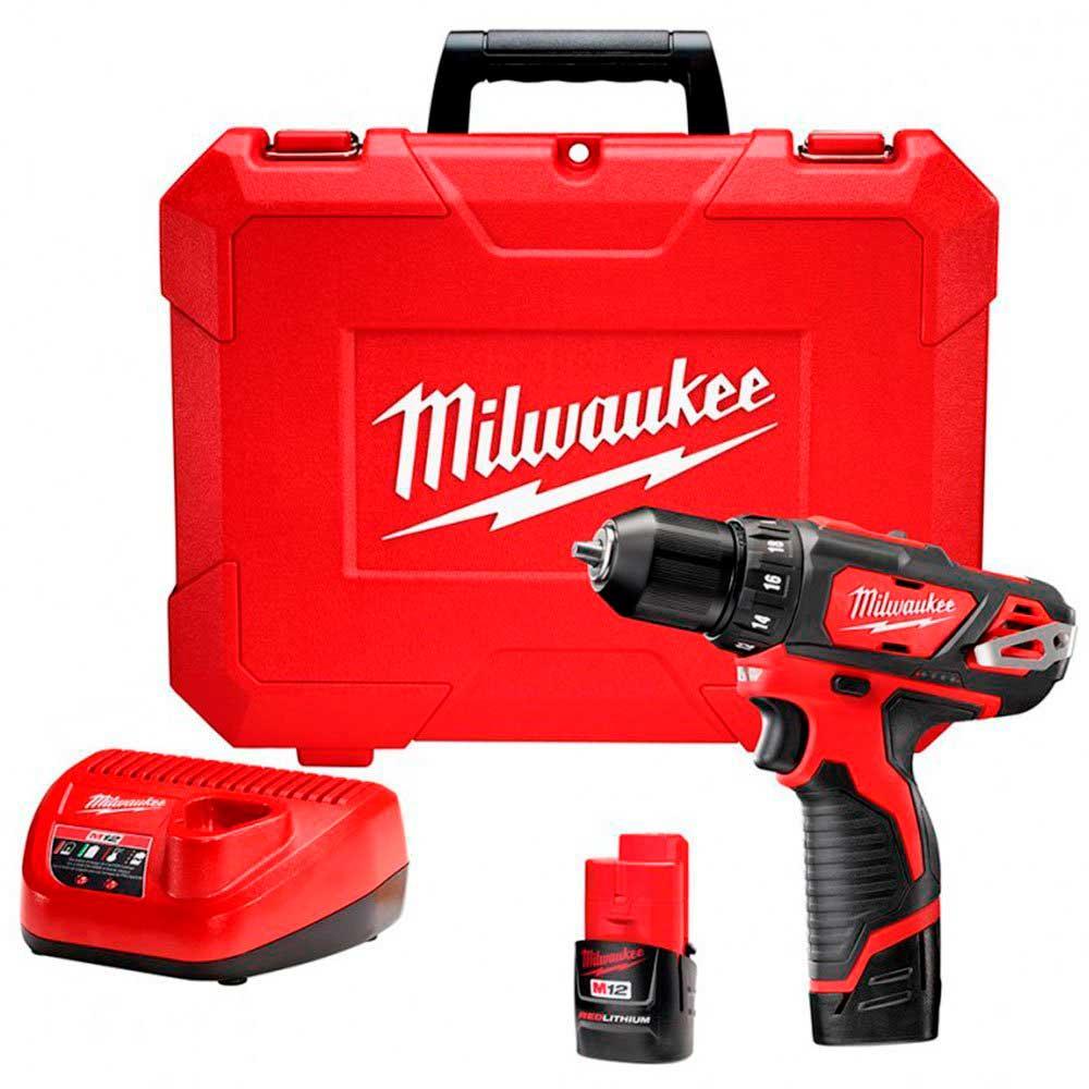 """Parafusadeira/Furadeira 3/8"""" - 12V  -2 Baterias -110V - Milwaukee"""