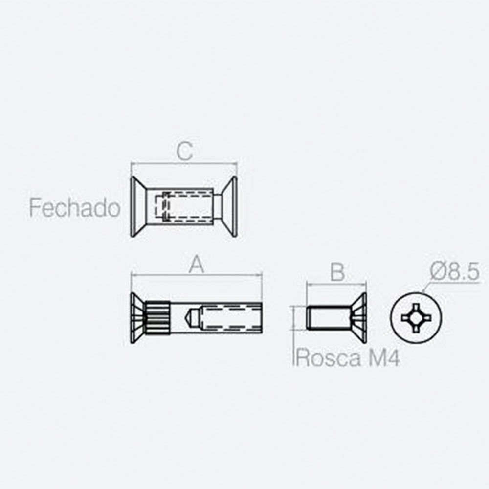 Parafuso União 33,5mm (10 peças) - Bigfer