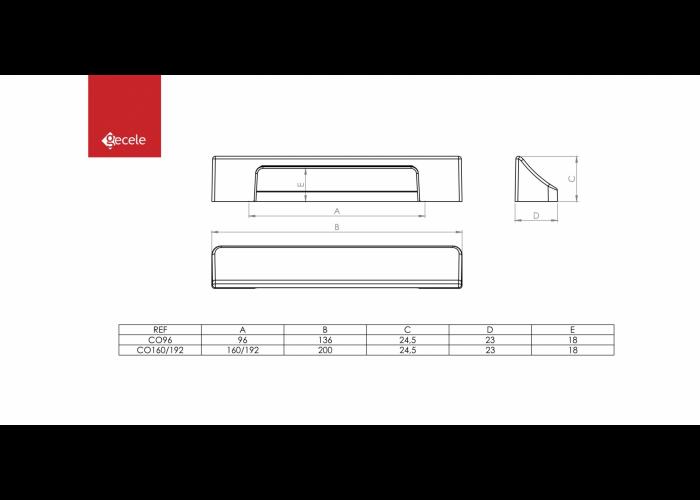 PUXADOR CONCH FURACAO 96MM PRETO FOSCO  - GECELE