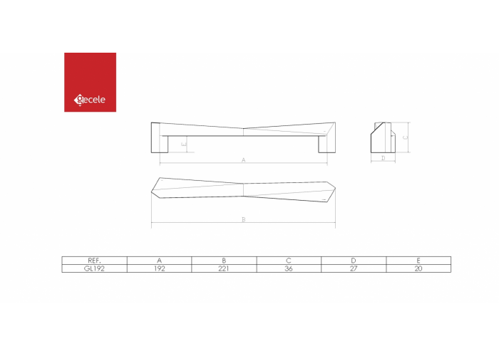 PUXADOR GLISS FURACAO 192MM OURO  - GECELE