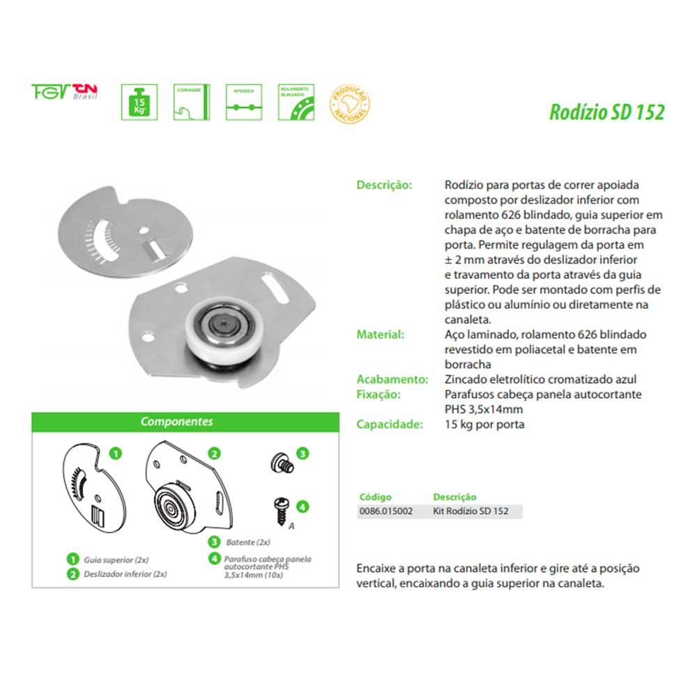 Rodízio SD 152 p/ Portas de Correr - FGVTN