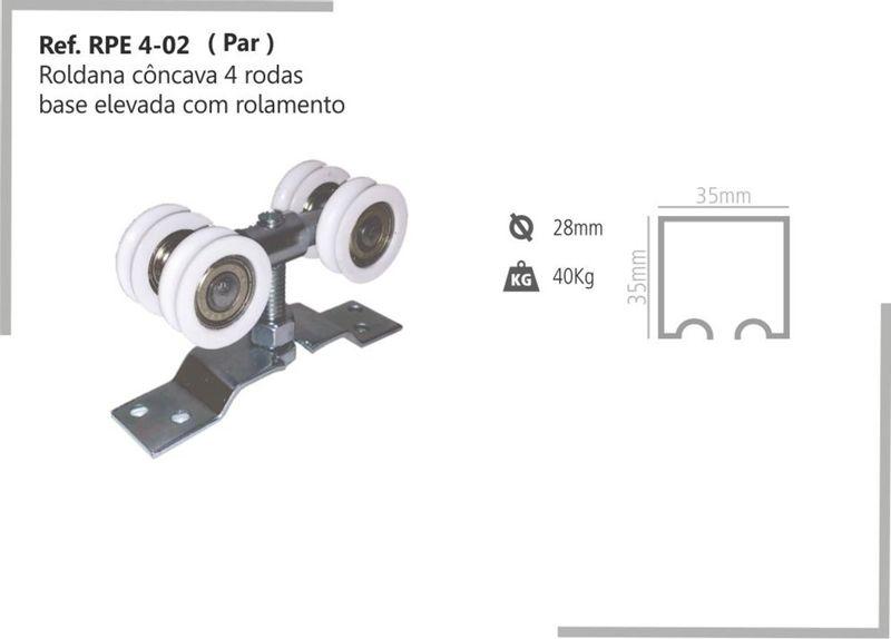 ROLDANA CONCAVA 4 RODAS ROLAMENTO 28MM RPE 4-02 - PERFIL