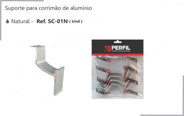 SC-01N - SUPORTE PARA CORRIMAO DE ALUMÍNIO NATURAL - PERFIL