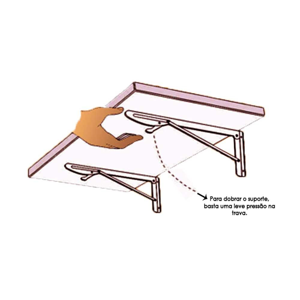 Suporte Dobrável para Mesas e Prateleiras 30cm Branco - Krok