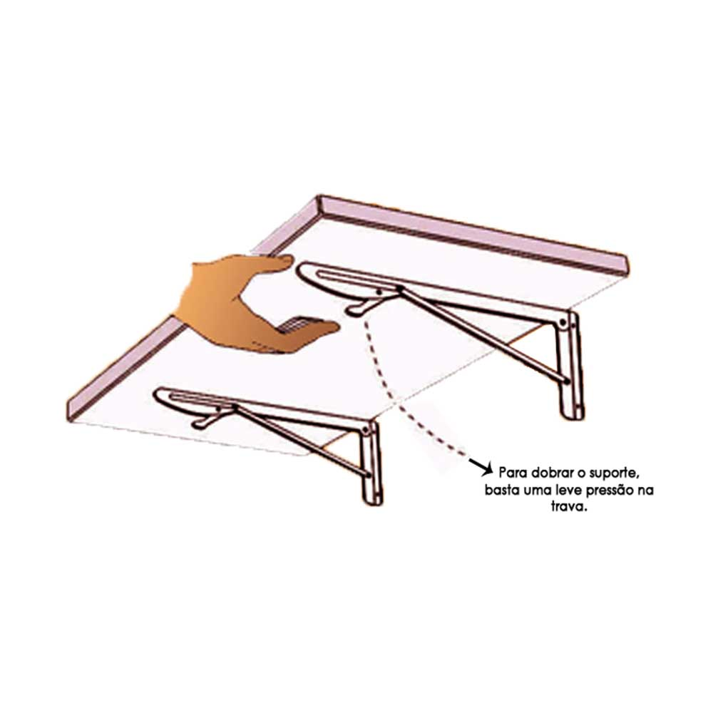 Suporte Dobrável para Mesas e Prateleiras 30cm Preto - Krok