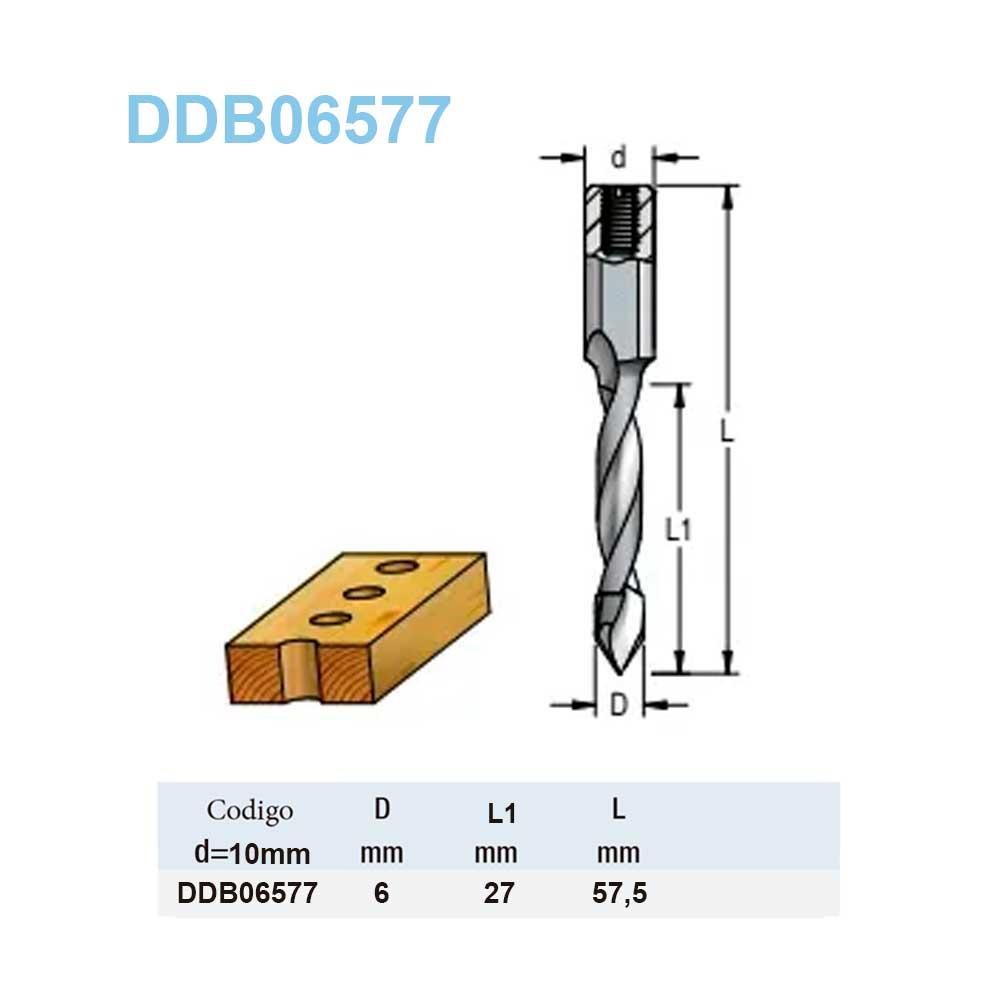 Broca Helicoidal Fnp - 6Mm X 27Mm X 57,5Mm H10X27 DDB06577 - Wpw