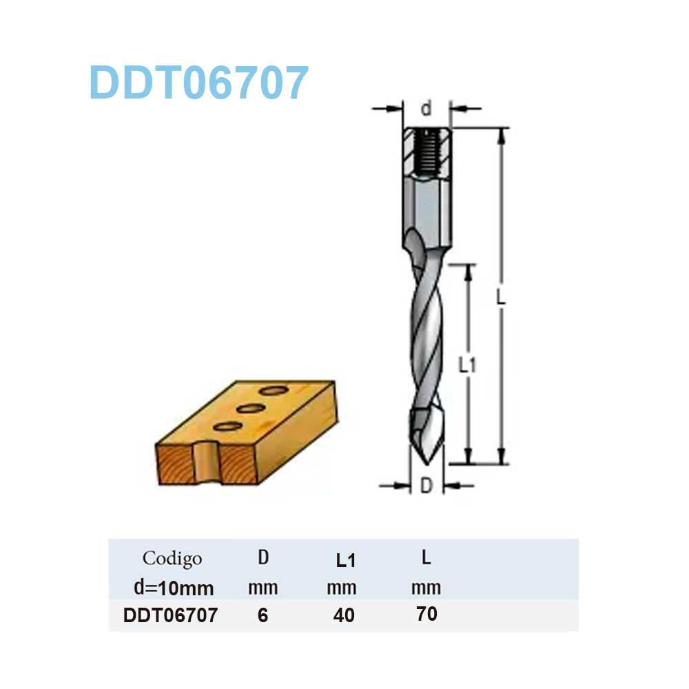 Broca Helicoidal Fp - 6mm x 40mm x 70mm H10X25 DDT06707 - Wpw