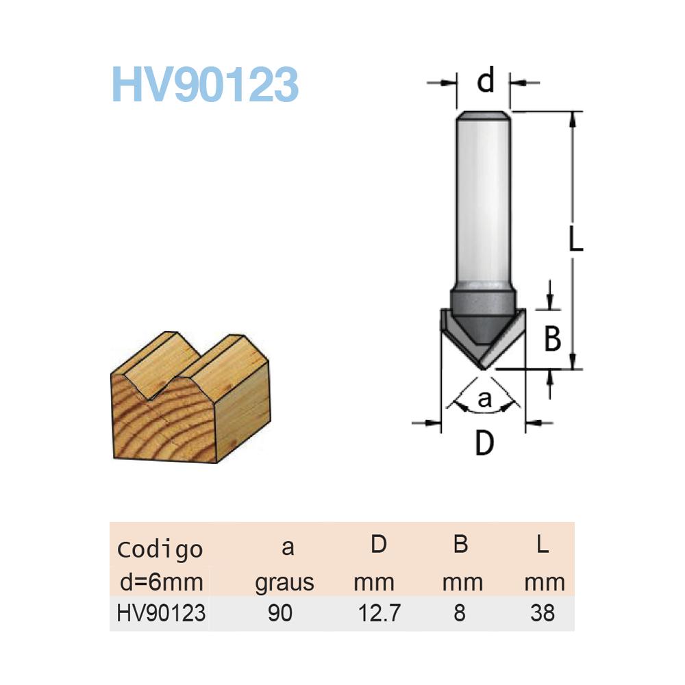 """Fresa Corte  """"V""""  - R90 - 12,7 MM X 8 MM -  H6/38  (Cod. HV90123) - WPW"""
