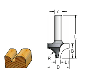 Fresa Duplo Raio Concavo (R8) - 22,2Mm X 14Mm X 6,3 - H6/43 RV08003 - Wpw