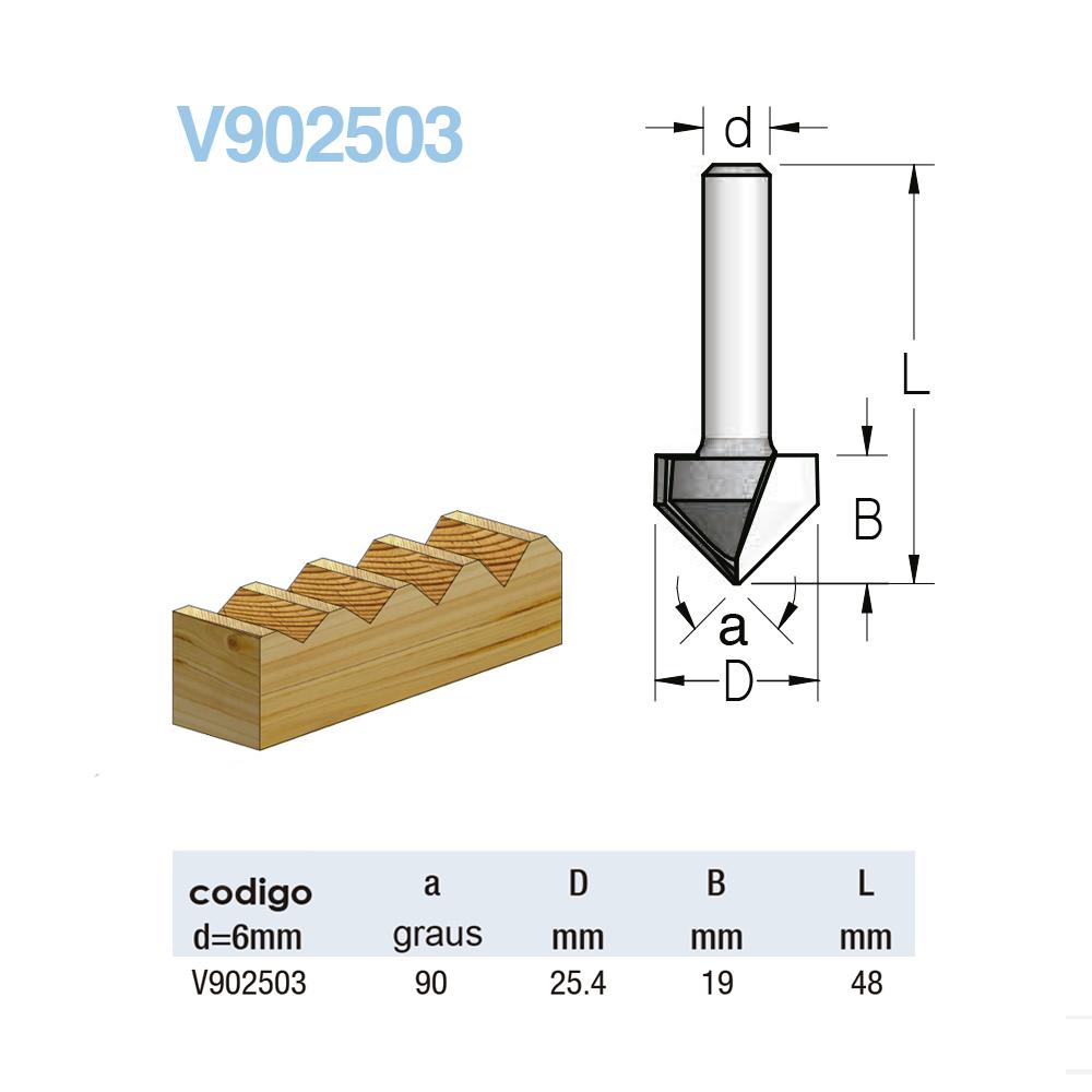 WPW - Fresa em V - A90 25,4mm x 9mm - H6/48