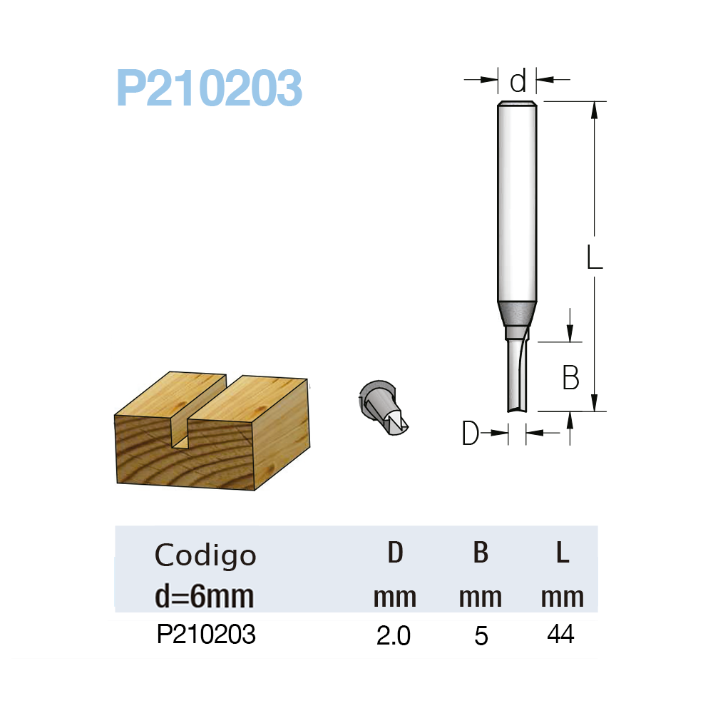 Fresa Reta Profissional 2mm X 5mm -Haste 6 [P210203] - WPW
