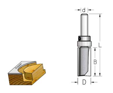 "Fresa Reta com Rolamento na Haste ""Woodpecker"" 12,7mm X 25mm -Haste 6 [HPF4123] - WPW"