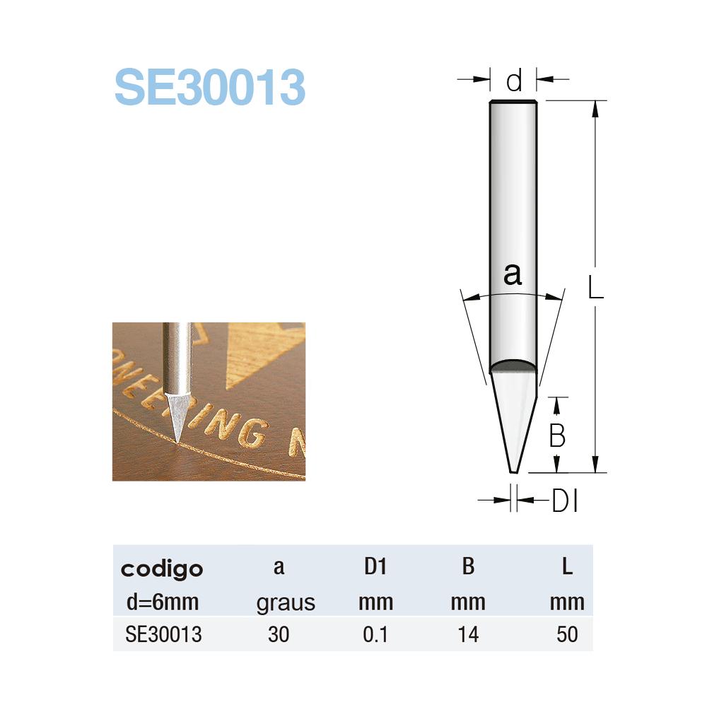 Fresa Widea Acab. Esp.- 30º 0.1MMX14MM - H6/50 (Cod. SE30013) - WPW