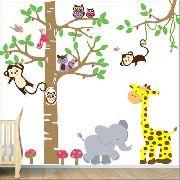 Adesivo De Parede Zoo Quarto Infantil Arvore Elefante Md12