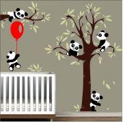 Adesivo Quarto Infantil Arvore Bebe Panda Zoo Md44