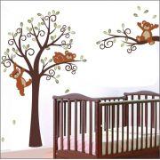 Adesivo Quarto Infantil Arvore Bebe Urso Zoo Md45