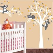 Adesivo Quarto Infantil Arvore Bebe Urso Zoo Md513