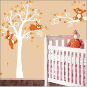 Adesivo Quarto Infantil Arvore Bebe Urso Zoo Md514