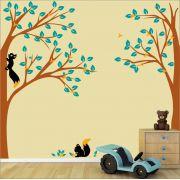 Adesivo Quarto Infantil Arvore Esquilos Zoo Md339